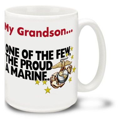 "Show pride in your U.S. Marine Corps Grandson with this USMC coffee mug. Marine Corps Grandson mug is dishwasher and microwave safe and features slogan: USMC ""The Few The Proud"" mug is sure to be a coffee time favorite and makes a great gift for Grandparents!"