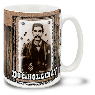 "John Henry ""Doc"" Holliday, friend of Wyatt Earp and veteran of the Gunfight at the O.K. Corral: American gambler, gunfighter, dentist and legend of the American Old West. Drink a cup of mud in a Doc Holliday Mug! Featuring a historic photo, this Doc Holliday coffee Mug is dishwasher and microwave safe."