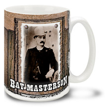 "William Barclay ""Bat"" Masterson was a buffalo hunter, U.S. Marshal and Army scout and legend of the American Old West. Start your day with some coffee in a Bat Masterson Mug! Featuring a historic photo, this Bat Masterson coffee Mug is dishwasher and microwave safe."
