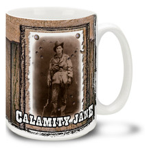 Martha Jane Canary was better known as Calamity Jane, American frontierswoman, friend of Wild Bill Hickok, and famous Wild West frontier legend. Perk up with some coffee in a Calamity Jane Mug! Featuring a historic photo, this Calamity Jane coffee Mug is dishwasher and microwave safe.