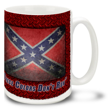 "Show your Rebel pride with this American Rebel Flag coffee mug with the Stars and Bars and ""These Colors Don't Run"" slogan. Rebel Flag Mug is dishwasher and microwave safe. Get a Confederate Rebel Flag coffee cup."