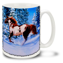 Silent Thunder Horse Coffee Mug featuring a majestic paint horse running free in cool winter snow. Colorful Paint Horse Mug is dishwasher and microwave safe.