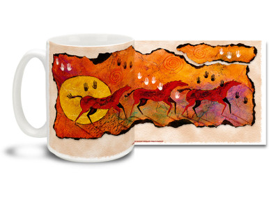 Wild Red Horses Coffee Mug featuring colorful wild horses rendered in a playful and primitive Native American style. Wild Red Horse Mug is dishwasher and microwave safe.