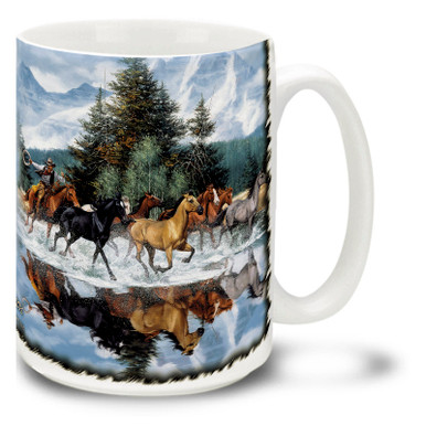Last of the Wild One Horses Coffee Mug featuring a beautiful herd of wild horses pursued by a wild western cowboy in the cool waters of a mountain stream. Last of the Wild Horses Mug is dishwasher and microwave safe.