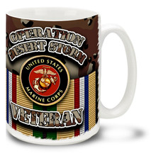 USMC Emblem and Chocolate Chip Camo from the Desert Storm campaign decorate this proud veteran's mug. This Marines Emblem mug on Camo is durable, dishwasher and microwave safe and features round USMC logo mug is sure to be a favorite!