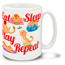 Every cat owner knows the routine, but if you need a reminder you can get this cat coffee mug! Eat, sleep, play - and the occasional need for affection! Eat, sleep, play, repeat cat mug is dishwasher and microwave safe.