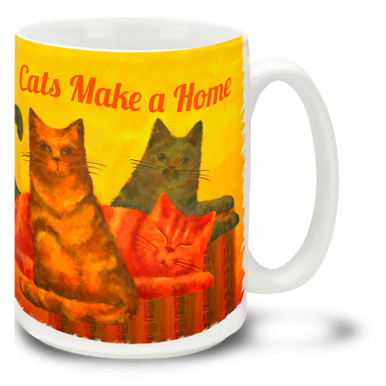 "We may pay the rent, but the cats own the home! Colorful selection of happy cats on a beautiful cats coffee mug. ""Cats Make a Home"" cat mug is dishwasher and microwave safe."