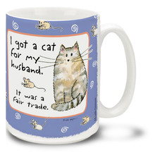 Cat Lovers know, never ask them to choose between their cat and you! Trade a frown for this great cat mug. Cartoon cat coffee mug is dishwasher and microwave safe.
