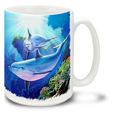 Magical underwater dolphins mug features vivid blues and reef colors. Underwater Dolphins Coffee Mug is dishwasher and microwave safe.