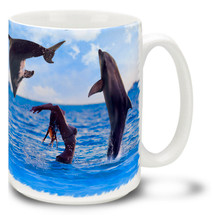 Dolphin lady dolphins mug features a photograph of two playful porpoises jumping over a free spirited beach goer. 15oz Dolphin Lady Dolphins Coffee Mug is durable, dishwasher and microwave safe. Personalize it with your name for only $3 more!