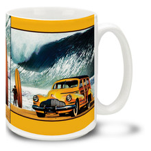 Buttercup Buick Surfing Board and Woody - 15oz. Mug