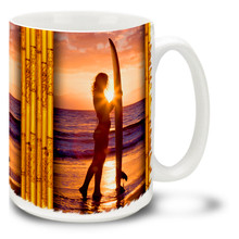 Surfer Girl Beautiful Sunset - 15oz. Mug