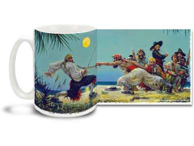 "What does a pirate do when he runs out of bullets? Why, grabs his sword of course! Exciting duel action on a great pirate mug. Featuring art from famed Swashbuckler artist Don Maitz, world-renowned for his ""Captain Morgan"" character art. Moonlight Sword Duel Pirate Coffee Mug is dishwasher and microwave safe."