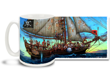 "It's a regular Pirate Festival! See if you can count all the dirty sea dogs on this Forty Thieves Pirate Ship Pirates mug. Full-length pirate ship has more sea rovers and marauders than you would care to shake a stick at. Featuring art from famed Swashbuckler artist Don Maitz, world-renowned for his ""Captain Morgan"" character art. Forty Thieves Pirate Coffee Mug is dishwasher and microwave safe."