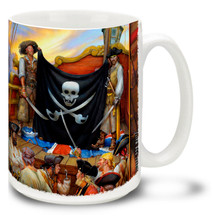 """Hoist the Jolly Roger and have your own Pirate Festival! Jolly Roger Skull and Crossbones Pirate mug sets sail for a great cup of coffee. Featuring art from famed Swashbuckler artist Don Maitz, world-renowned for his """"Captain Morgan"""" character art. Jolly Roger Skull and Crossbones Pirate Coffee Mug is dishwasher and microwave safe."""
