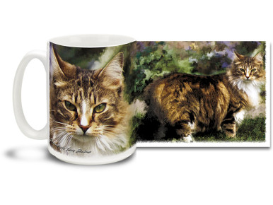 Feline fanatics know the Maine Coon is a beautiful and feisty breed. Please your inner cat lady with a Wild Thing Maine Coon cat mug! Longhair Maine Coon cat coffee mug is dishwasher and microwave safe.