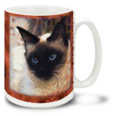 "The Siamese, whose name translates to ""moon diamond"", is one of the most popular domestic feline breeds in Europe and North America. Beautify your day with this mystical Siamese cat mug. Siamese cat coffee mug is dishwasher and microwave safe."