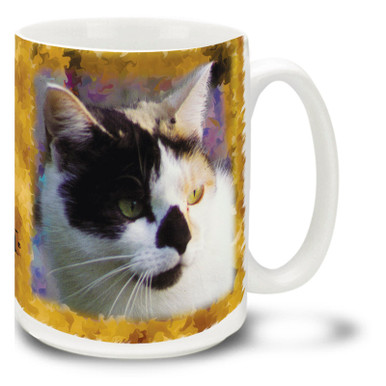 "While calico cats can be many breeds, they are almost always female! Calicoes are believed to bring good luck in the folklore of many countries and are sometimes referred to as ""Money Cats"" in the United States. Add a little luck to your day with this mystical Calico Cat mug. Calico cat coffee mug is dishwasher and microwave safe."