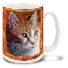 "A tabby is any domestic cat that has a coat featuring distinctive stripes, lines or other swirling patterns. Some people call the ""tigers""! Add a little wildness to your day with this mystical Orange and White Tabby Cat mug. Cat coffee mug is dishwasher and microwave safe."