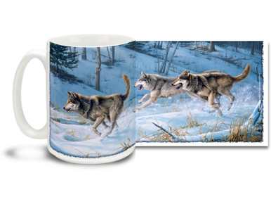 A pack of wild wolves run free in the snow on this exciting wolf mug. 15oz Running Free Wolf coffee mug is dishwasher and microwave safe.