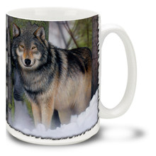 This crisp and vivid painting features a watchful lone wolf in the snow. Warm up in winter with this wolf mug! Lone Wolf coffee mug is dishwasher and microwave safe.