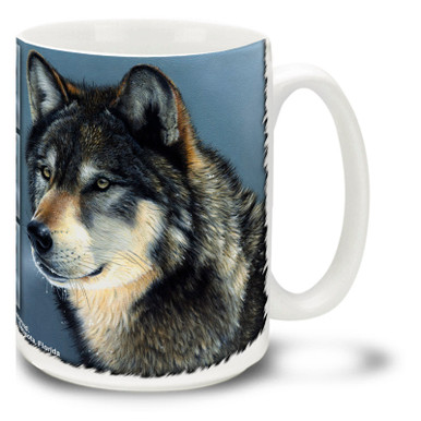 One thing you probably don't want to do is get into a staring contest with a wolf! Sharpen your gaze on this handsome wolf mug: Cold Stare Wolf coffee mug is dishwasher and microwave safe.