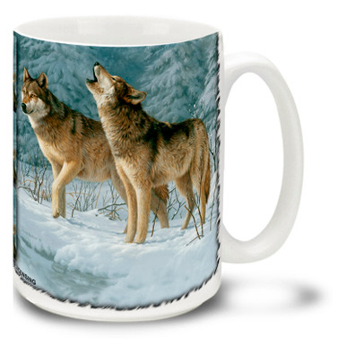 Call of the Wild Wolf mug will bring out the wild in you! 15oz Call of the Wild Wolf coffee mug is durable, dishwasher and microwave safe.