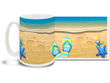 What could be better than feeling the sand between your toes and walking out into the pleasant surf in your bare feet? Remember summer all year round with this footprints and flip-flops coffee mug! Footprints and Flip Flops Coffee Mug features shells and surf and is dishwasher and microwave safe.