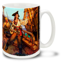 """Historically, women pirates were known as """"Pirettes"""". Unofficially, they were probably known by a lot of worse words! As they say, """"Well behaved women rarely make history""""... Get schooled abroad with our 15oz Pirates Abroad Pirate Coffee Mug Featuring art from famed Swashbuckler artist Don Maitz, world-renowned for his """"Captain Morgan"""" character art this cool coffee mug is durable, dishwasher and microwave safe."""