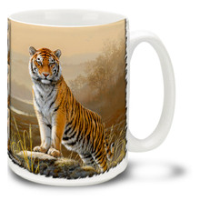 Tigers generally hunt alone, and are fierce and overpowering predators. Go in for the kill with this vivid and colorful Tiger Mug! 15oz On the Hunt Majestic Tiger coffee mug is durable, dishwasher and microwave safe.