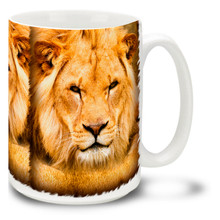 A male lion is easily recognized by it's flowing mane, and lions are easily one of the most recognized animal symbols in our culture. Lions are a popular symbol of royalty as well as bravery. Brave the wilds of everyday life with this stately and colorful Lion Mug! Handsome Lion coffee mug is dishwasher and microwave safe.