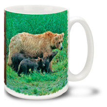 Brown bear cubs stay with their mamas for up to four and a half years, learning about life and how to fend for themselves. Mother bears will fiercely defend their cubs! Embolden your brew with this Mama Bear Coffee Mug. 15oz Mother Bear coffee mug is durable, dishwasher and microwave safe.