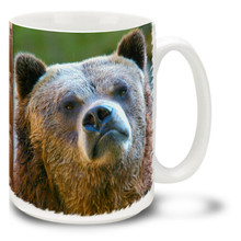 "Consternation is defined as ""a sudden, alarming amazement""... This grizzly bear looks the part, with a look somewhere between grumpy and confused! Grin and bear it with this grizzly bear coffee mug. Brown Grizzly Bear coffee mug is dishwasher and microwave safe."