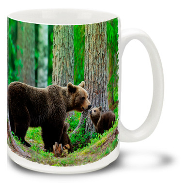 Mother bears teach their cubs well, and a baby bear gets a few years to learn and play before having to get on with the harsh business of life. Celebrate the good times in life with this Bear and Cubs coffee mug. Plenty of room to personalize with a name or favorite saying, this 15oz Bear and Cub coffee mug is durable, dishwasher and microwave safe.