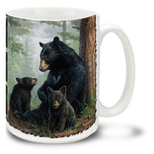 Black bears enjoy their cool forest surroundings, and this bear family is no exception. A mama bear seems to be talking directly to her young cup on this popular Black Bear Mug. Black Bear and Cub coffee mug is dishwasher and microwave safe.