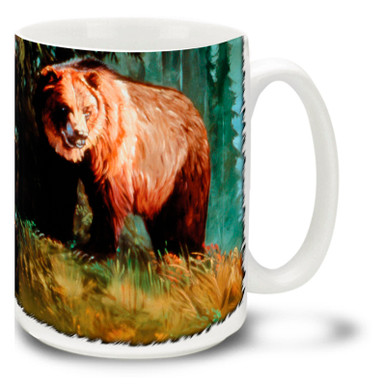 Primarily nocturnal, the powerful grizzly bear is also ofthen seen in morning and early evening hours. Catching a few morning sunbeams, this proud grizzly is best enjoyed from a respectful distance. Start your morning right with this Grizzly Morning Bear Mug. This 15oz Grizzly Bear coffee mug is durable, dishwasher and microwave safe.