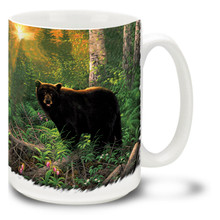 This contented looking bear is just waking up in the golden glow of the forest sunset, ready to start his day! Enjoy your favorite brew any time of day with this Sunset Surprise Bear Mug. Sunset Bear coffee mug is dishwasher and microwave safe.
