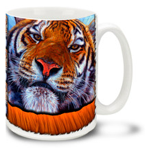 There are plenty of good places to be in the jungle, but face to face with a tiger is usually not one of them! Get wild with this impressive Tiger mug. Face to Face Tiger coffee mug is dishwasher and microwave safe.