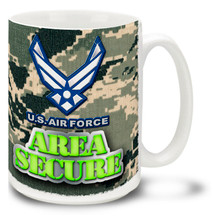 The United States Air Force stands vigilant every day, keeping the world safe from treacherous threats. Feel secure with this U.S.A.F. camo mug! 15oz Area Secure Air Force camo Coffee Mug is durable, dishwasher and microwave safe.
