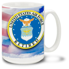 Retired United States Air Force Crest on Flag - 15oz. Mug