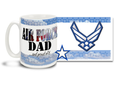 Show your pride in your United States Air Force son or daughter with this colorful Air Force Dad and Proud coffee mug. U.S. Air Force mug also makes a great gift for your father! Air Force Dad Coffee Mug is dishwasher and microwave safe.