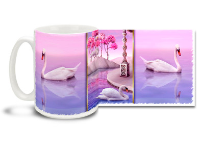What could be more romantic than a beautiful swan on a colorful pink and lavender day? Get to the heart of the matter with this swan themed romantic mug. Pink and Lavender Swan romantic coffee mug is durable, dishwasher and microwave safe.
