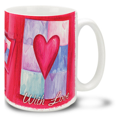 Simple and easy to understand, the heart is the symbol of love! Give some love with this Hearts with Love mug. Brightly colored heart coffee mug is durable, dishwasher and microwave safe.