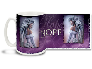 Hope springs eternal, find the source of your hope with this Hope Forgiveness Angel mug. Cool purple tones Hope Forgiveness Angel coffee mug is durable, dishwasher and microwave safe.