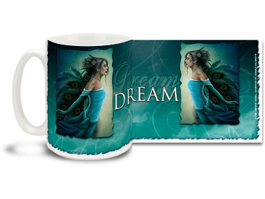 Find love in a dream with this Dream Vision Angel mug. Deep blue tones Dream Vision Angel coffee mug is dishwasher and microwave safe.