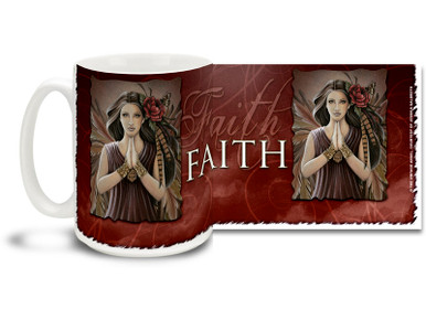 Show a lot of faith with this Faith Earth Angel mug. Deep red tones Faith Earth Angel coffee mug is dishwasher and microwave safe.