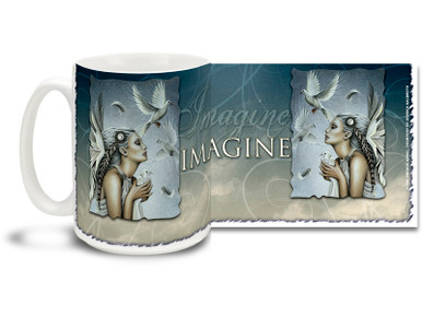 Let your imagination take over with this Imagine Beautiful Release Angel mug. Imagine Beautiful Release Angel coffee mug is dishwasher and microwave safe.