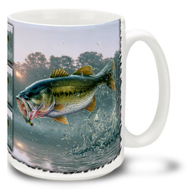 Every angler knows the thrill of the first catch of the day! Carry that thrill with you with this First of the Day Bass Fishing Coffee Mug! Featuring a beauty of a catch breaking the surface, this vivid Bass Fishing Mug is dishwasher and microwave safe and celebrates fishing mug holds 15oz. of your favorite coffee.