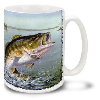 One of the joys of fly fishing is watching a trophy catch leap and break the surface! This Large Mouth Bass Fishing Coffee Mug is a trophy in itself! Colorful and vivid Bass Fishing Mug is dishwasher and microwave safe and celebrates fishing mug holds 15oz. of your favorite coffee.