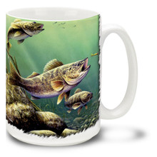 Walleyes are prized as a delicious freshwater fish and these fellows look like a great catch! Stay up late to fish for the nocturnal walleye with some coffee in your Feeding Walleyes Coffee Mug! This exciting Walleye Mug is dishwasher and microwave safe and celebrates fishing mug holds 15oz. of your favorite coffee.